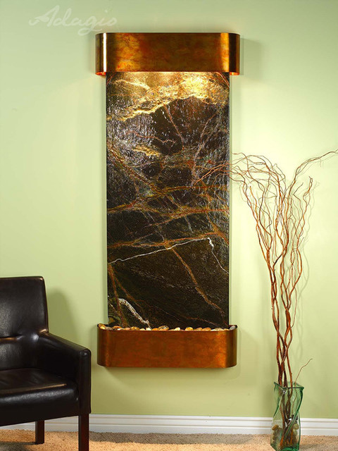 Marble Wall Water Features - The Inspiration Falls with Green Rainforest Marble contemporary-indoor-fountains