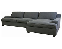 Kaspar Slate Gray Fabric Modern Sectional Sofa modern sofas