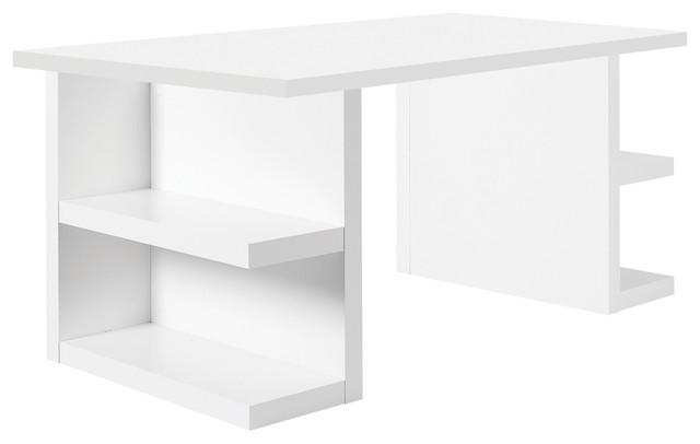"""Multi 71"""" Table Top W/ Storage Legs, Pure White contemporary-desks"""