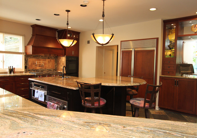 Rustic Craftsman Cherry Kitchen with Contrasting Espresso Island in Bel Air, MD traditional-kitchen