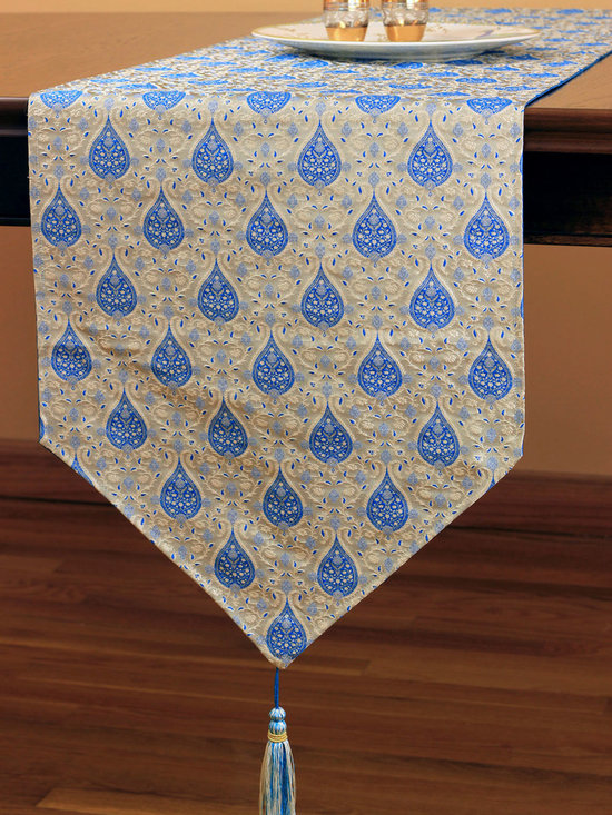 Chic Jacquard Table Runner (Sky Blue) - Gorgeous jacquard table runner features whimsical yet elegant design for a practical yet luxurious look for your table. Color: Sky Blue. Made in India
