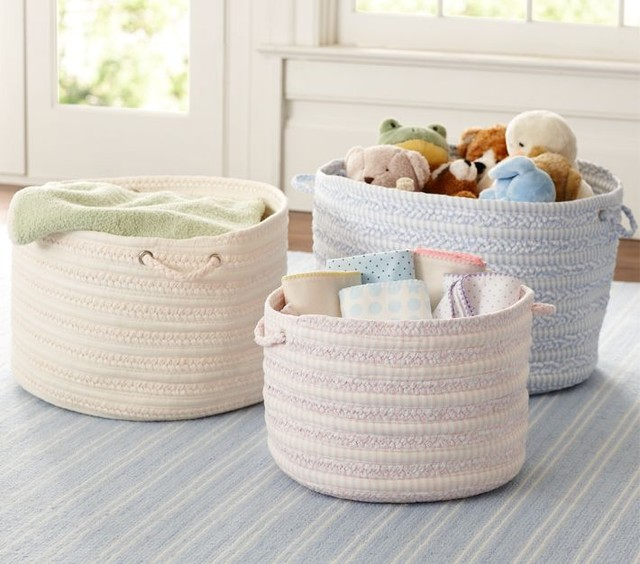 round woven storage pottery barn contemporary baskets by pottery barn kids. Black Bedroom Furniture Sets. Home Design Ideas