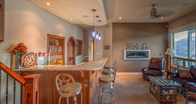 Traditonal Style with Modern Features traditional-basement