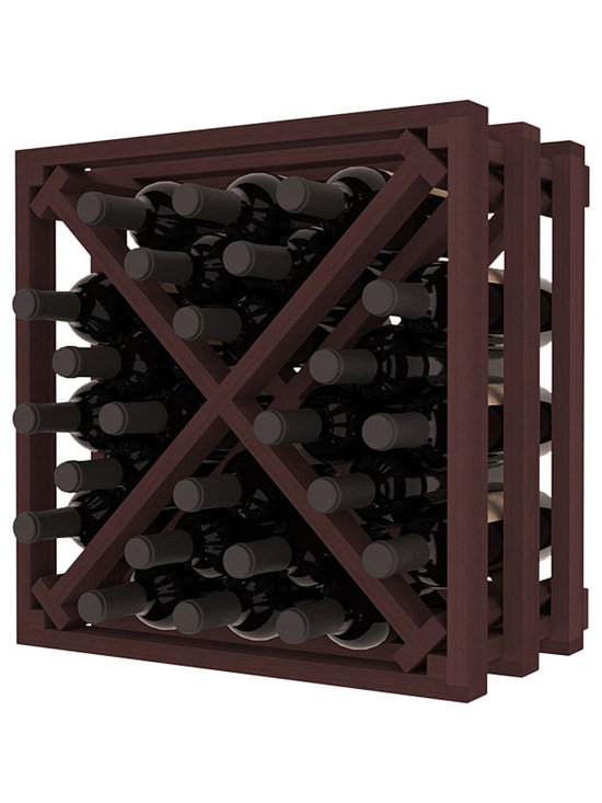 Lattice Stacking X Wine Cube in Redwood with Walnut Stain - Designed to stack one on top of the other for space-saving wine storage our stacking cubes are ideal for an expanding collection. Use as a stand alone rack in your kitchen or living space or pair with the 16-Bottle Cubicle Wine Rack and/or the Stemware Rack Cube for flexible storage.