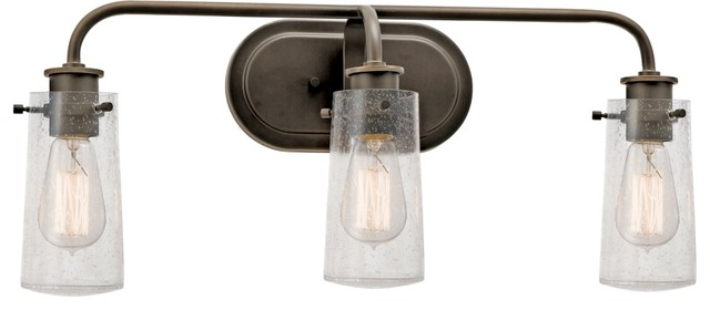 45459OZ Braelyn Lodge/Country/Rustic 3-Light Bath Lighting, Olde Bronze industrial-bathroom ...