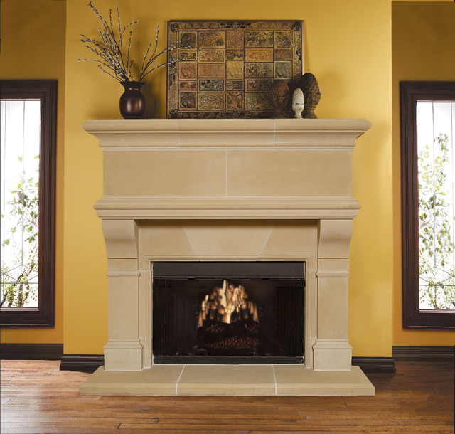 Mandalay cast stone fireplace mantel traditional for Cast stone fireplace mantels
