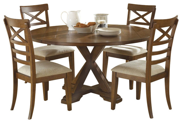 Liberty furniture hearthstone 5 piece 60 inch round drop for Traditional round dining room sets