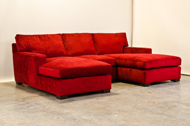 Red Chenille Matthews Sectional with Two Chaise