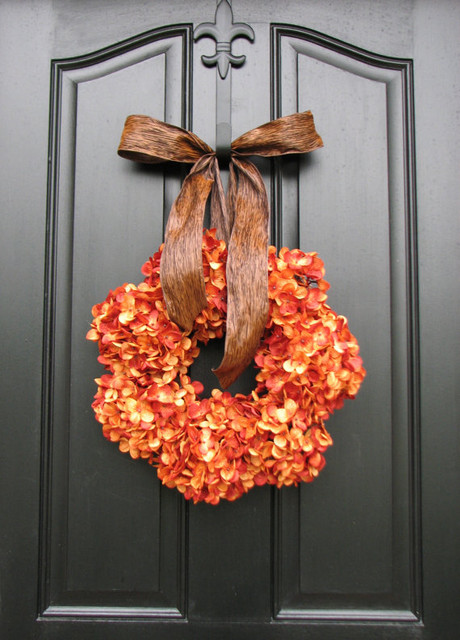 Pumpkin Wreath Fall Hydrangeas by Two Inspire You contemporary-wreaths-and-garlands