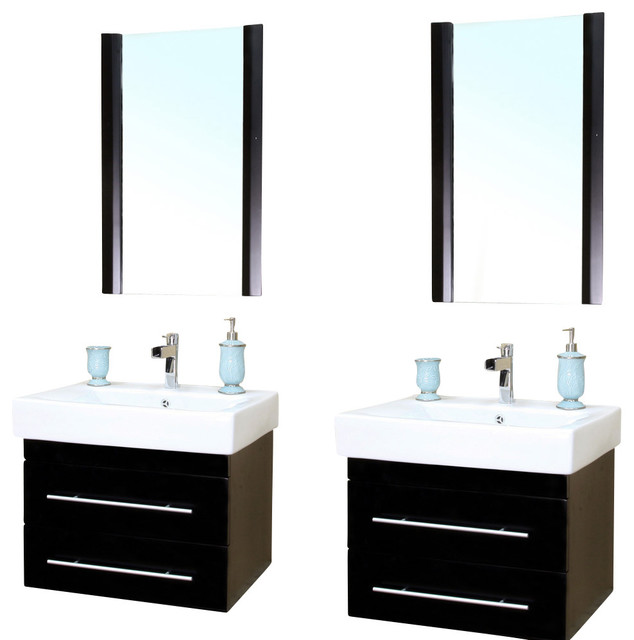 48 5 Inch Double Wall Mount Style Sink Vanity Wood Black Modern Bathroom