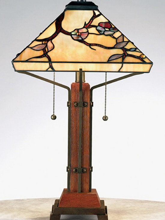 Prairie Home - Grove Park lamp in the Prairie style by Quoizel. Lamp shade has a Dogwood tree motif.