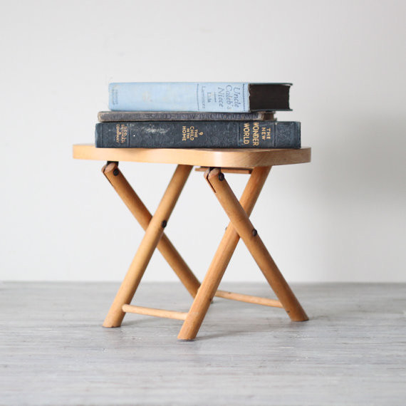 Wood Folding Step Stool Modern Side Tables And End Tables By Etsy