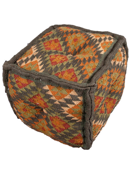 Jaipur - Bedouin Pouf, Negev - You can get it all — earthy color, tribal pattern and extra seating — with this pouf. It's hand woven from wool and jute and stitched together in a soft cube for casual comfort. Picture several around a low cocktail table for game night. Jenga, anyone? These are great for those times when you have more guests than chairs — or just want to put your feet up in comfort and style.