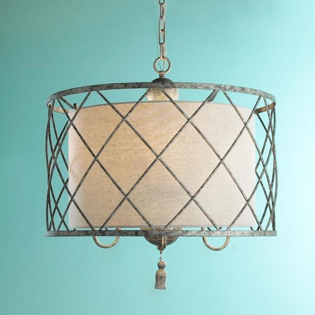 Metal Lattice Drum With Linen Shade Pendant Light Lamp