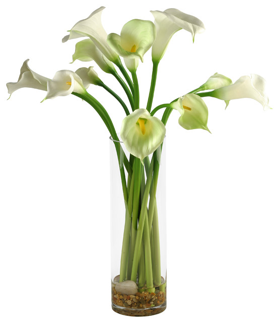 Artificial Calla Lilies In Tall Glass Vase Contemporary