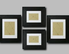 Framed Apple Green Fabric with Geometric Pattern Set of 4 modern-frames