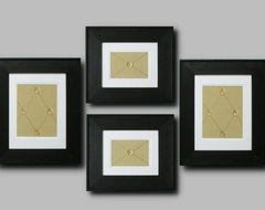 Framed Apple Green Fabric with Geometric Pattern Set of 4 modern-picture-frames