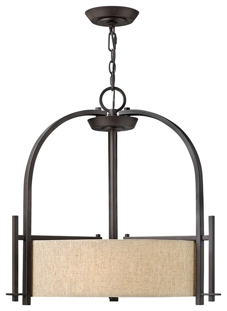 """Arts and Crafts - Mission Hinkley Sloan Collection 24"""" Wide Bronze Pendant modern-pendant-lighting"""