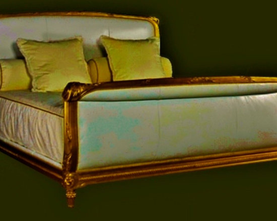 Cool Stuff - Randall Tysinger Toulouse King or Queen Upholstered Antique Reproduction Bed with gilded frame created from a late nineteenth century French piece -  Standard Finish: Old Antique Almond -  Shown in Bright Gold Leaf -