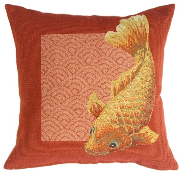 Pillow decor koi fish french tapestry throw pillow for Koi fish pillow
