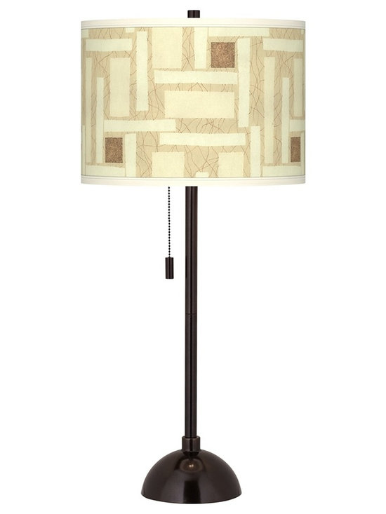 """Giclee Glow - Asian Organic Strands Giclee Glow Tiger Bronze Club Table Lamp - Club style table lamp. Custom printed drum shade. Tiger bronze finish. Maximum 100 watt or equivalent bulb (not included). On/off pull chain. 28"""" high. Shade is 13 1/2"""" across the top and bottom 10"""" high.          Club style table lamp.  Custom printed drum shade.  Tiger bronze finish.  Maximum 100 watt or equivalent bulb (not included).  On/off pull chain.  28"""" high.  Shade is 13 1/2"""" across the top and bottom 10"""" high."""