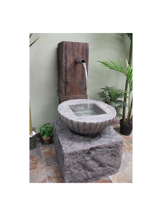 "43"" Zen Fountian, Outdoor Decor Fountains - This Zen fountain features a stainless steel overflow spout that drops a stream of water into what looks like a solid stone bowl but is actually made of a durable and lightweight fiberglass resin. Includes an underwater LED light and a pump."