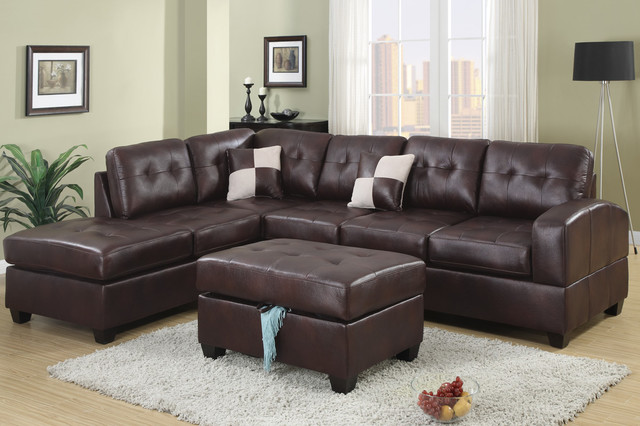 Modern Tufted Espresso Leather Sectional Sofa Couch Reversible Chaise modern sectional sofas los angeles