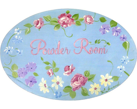"""Stupell Industries - Blue with Roses Powder Room Bath Plaque - Decorative and fuctional. Made in USA. MDF Fiberboard. Original Stupell art. Approx. 11 in. W x 15 in. L. 0.5 in. ThickWhat better way to add class to your bath than with a wall plaque by from """"The Stupell Home decor Collection."""" Whether it is the black and white """"la toilette,"""" the black oval """"powder room,"""" or the rectangle crest """"le bain,"""" one thing stays the same: each plaque is hand finished, made in the USA, and comes with colorful grosgrain ribbon for hanging. Bath plaques from """"The Stupell Home decor Collection"""" are meticulously crafted by a variety of in-house artists and come on ½"""" thick MDF fiberboard."""