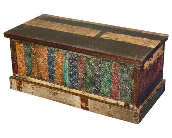 Sierra Living Concepts - Distressed Reclaimed Wood Storage Trunk Coffee Table - Add history, comfort and storage to your living room, bedroom and study with multi-color Storage Trunk Chest. The intricately hand carved front looks like a wooden tapestry with strips of wood with different patterns and coloring. The multi-use storage box sits directly on the floor on a wooden frame. The lid opens from the front and is attached with two hinges and one interior chain.