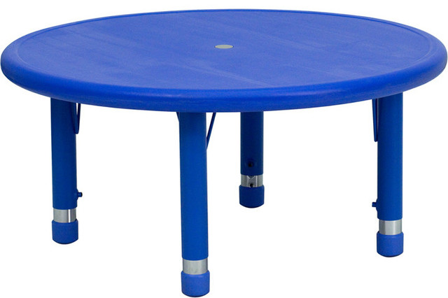 33 Round Height Adjustable Blue Plastic Activity Table