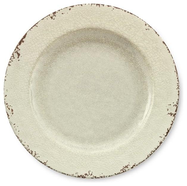 Rustic Melamine Dinner Plates White Traditional