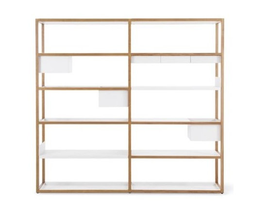 """Case - Lap Shelving Tall Frame Extension - Marina Bautier's Lap Shelving System (2010) takes storage in a refreshingly new direction, giving you a modular solution that you can customize to suit your needs. Like many of us, Bautier realized the redundancy in storing objects in a box or on a tray that is then placed on a shelf. Instead, her solution eliminates the shelf where it's not needed; and replaces it with a powder-coated sheet metal box or tray that hangs from the solid oak frame. (The name """"Lap"""" refers to how the metal overlaps the wood structure.) These metal storage components include a Deep Box, Shallow Box, Tray Shelf, Bookshelf (U-shaped to keep books in place) and Flat Shelf. How you arrange the components is up to you, and they can be rearranged at any time. To expand the solid oak frame widthwise, simply add any number of Extension Units. Ships flat; simple assembly required. Made in Lithuania. DWR Exclusive"""