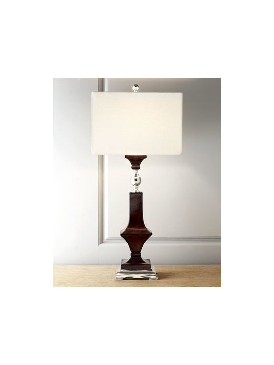 John-Richard Collection - John-Richard Collection Espresso Leather Table Lamp - Chic square table lamp is perfect for going solo as a side table statement piece gently illuminating your collection of fine art, or collect in pairs for balancing your study. From John-Richard Collection. Handcrafted of hand-stitched leather with nick...