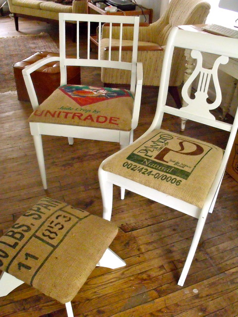 burlap coffee bag seats on up cycled antique chairs eclectic-armchairs-and-accent-chairs