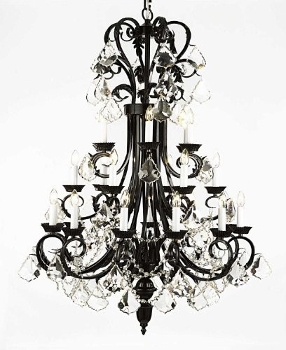 "Large Foyer / Entryway Wrought Iron Chandelier 50"" Inches Tall"