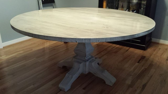 60 Whitewashed Round Pedestal Table Beach Style Dining Tables Other Metro By James And