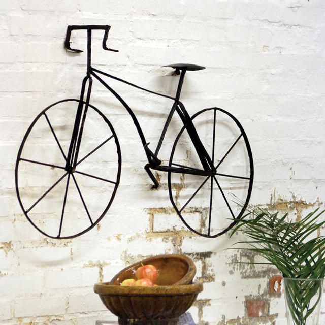 Metal bicycle wall art industrial outdoor wall art for Outside wall art