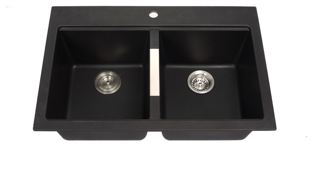 Black Double Sink Kitchen : ... Mount Double Bowl Black Onyx Granite Kitchen Sink modern-kitchen-sinks