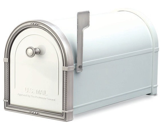 Architectural Mailboxes - Coronado Post Mount Mailbox White with Antique Nickel Accents - Priority post: If you're looking for a durable and unusually stylish mailbox, this one delivers. It's created of heavy galvanized steel for strength and has solid brass accents for a distinctive look.