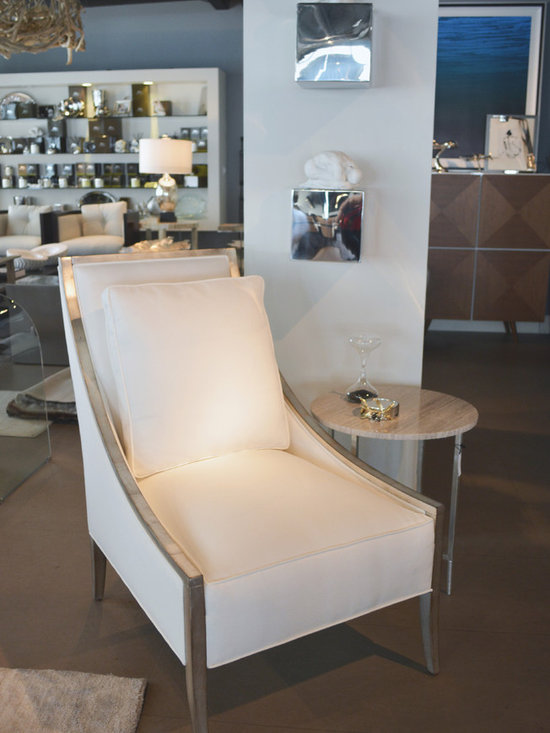 Showroom Pieces - Upholstered accent chair with a burnished silver leaf finish