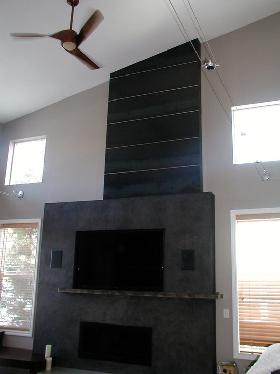 Patinated Steel Fireplace Surround -