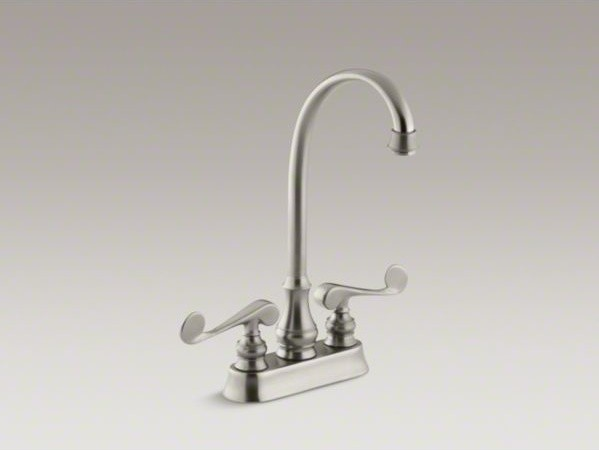 KOHLER Revival(R) two-hole centerset bar sink faucet with scroll lever handles contemporary-kitchen-faucets