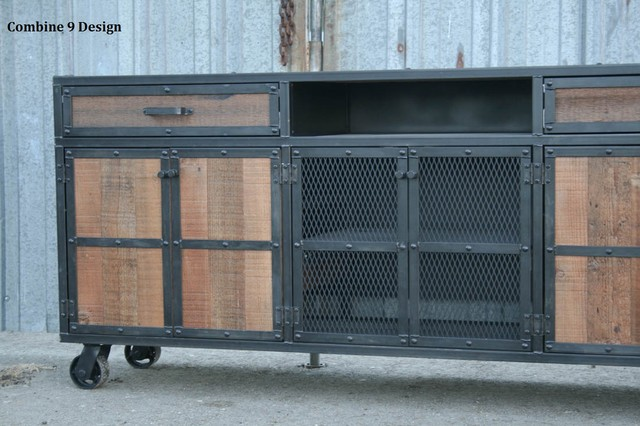 Industrial Style Media Console Credenza Reclaimed Wood Steel Custom