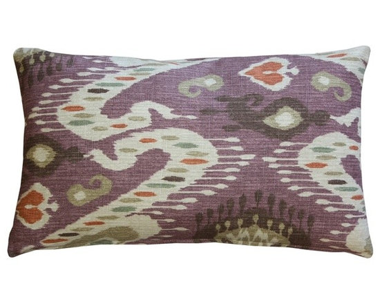 Pillow Decor - Pillow Decor - Solo Mulberry Ikat Throw Pillow 12 x 20 - This warm ikat pillow design includes mulberry, ocher, beige, sienna orange, green and soft brown tones. Made from a soft yet durable 100% cotton fabric, this rectangular pillow combines the artistic beauty of Ikat with contemporary styling. Suitable for both formal and informal spaces, the soft colors make this a versatile home accent choice.