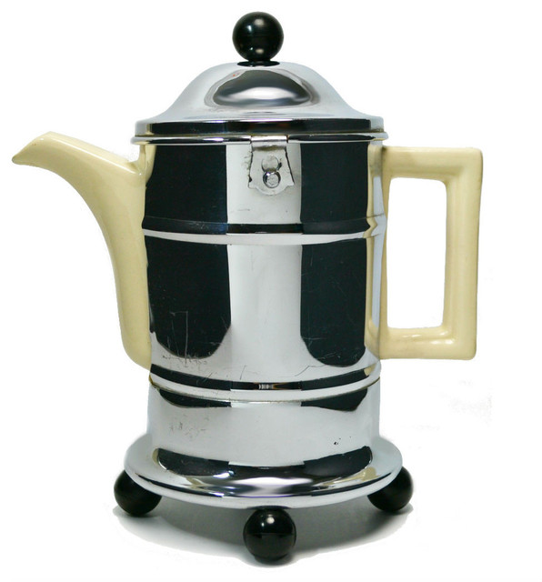Consigned Large Insulated Modernist Teapot in a Chrome Casing, English - Traditional - Teapots ...