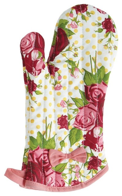 Jessie Steele Oven Mitt Spring Floral Red traditional-oven-mitts-and-pot-holders