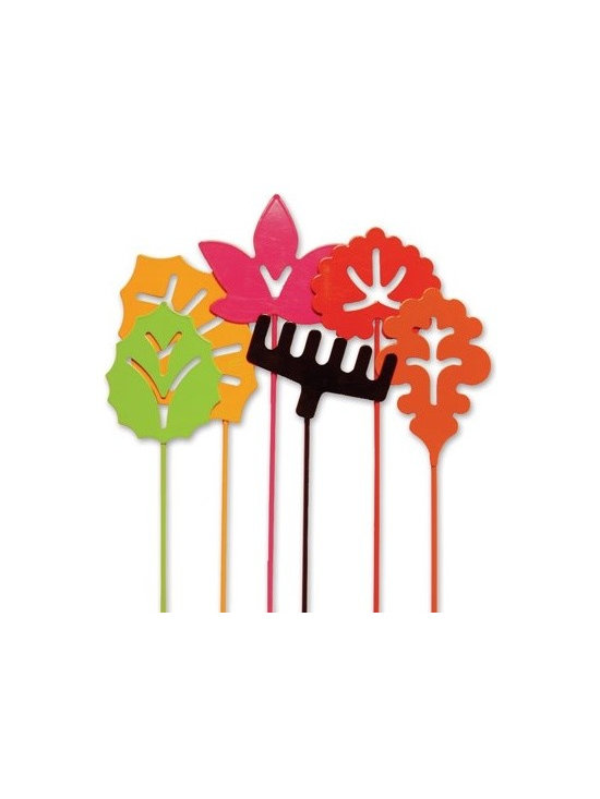 notNeutral Fallin' Small Garden Stakes - Garden Stakes for all seasons in Leaf shapes that are modern, colorful and fun. Bright candy-colored leaves make these durable steel Fallin' Garden Stakes by notNeutral eye catching in your garden.