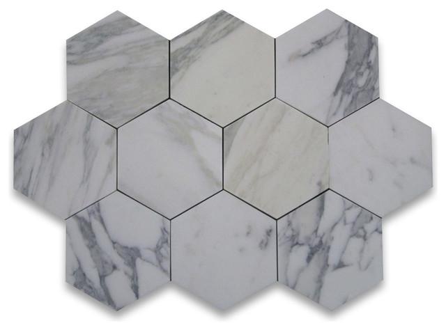 Calacatta gold marble hexagon tile 6 inch honed for 1 inch hexagon floor tiles