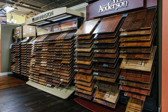 Showroom displays contemporary hardwood flooring for Hardwood floor showroom