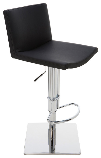 Gia Adjustable Stool Black Leather Contemporary Bar